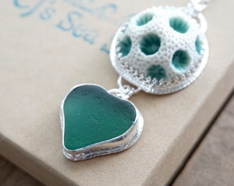 Teal Green Sea Glass and Ceramic Coral Pendant