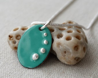 Mint Green Enamel and Fine Silver Necklace