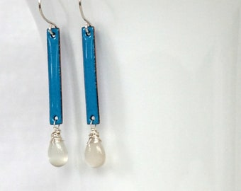 Teal Blue Enamel and Grey Moonstone Earrings