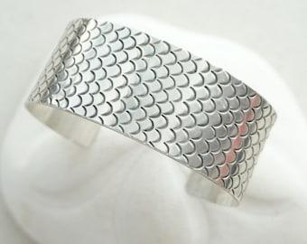 Sterling Silver Handstamped Mermaid Cuff Bracelet