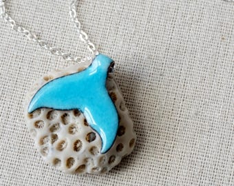 Aqua Blue Enamel Mermail Tail Necklace