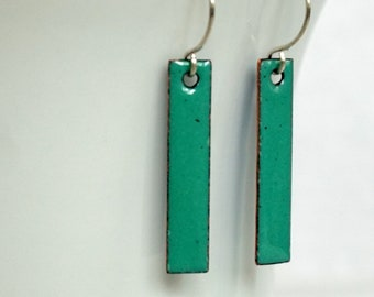 Mint Green Enamel Bar Earrings