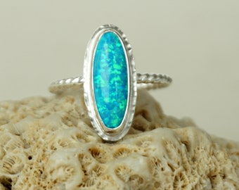 CLEARANCE - Aqua Blue Aura Opal Stacking Ring, Size 10 1/4