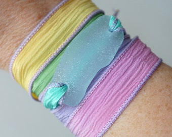 Soft Aqua Blue Sea Glass on Purple, Pink, Aqua, Silk Wrap Bracelet