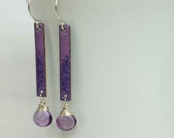 Purple Enamel and Amethyst Earrings
