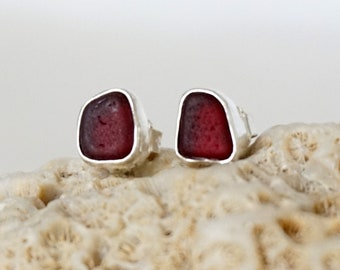 Red Sea Glass Stud Earrings