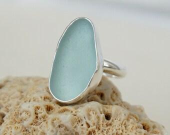 Soft Aqua Blue Sea Glass Ring, Size 8 1/2