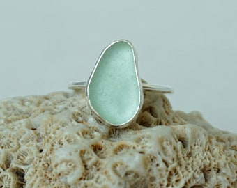 Seafoam Green Sea Glass Stacking Ring, Size 10 1/4