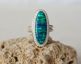 Blue and Green Aura Opal Statement Ring, size 8 3/4