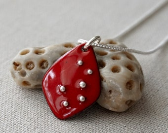 Red Enamel and Fine Silver Necklace
