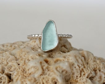 Soft Aqua Blue Sea Glass Stacking Ring, Size 7 1/4