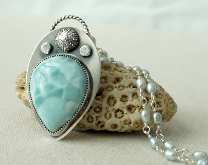 Featured listing image: Larimar and Sea Urchin with Rosary Pearl Chain Pendant