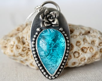 Aqua Blue Bridewell Stone and Sterling Silver Flower Pendant
