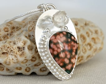 Ocean Jasper and Sterling Silver Flower Pendant