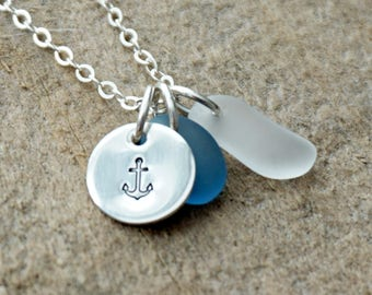 Sterling Silver Anchor with Light Blue and Clear Sea Glass Pendant