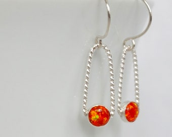Tangerine Orange Aura Opal Earrings