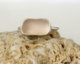 Pink Sea Glass Stacking Ring, Size 8 1/2