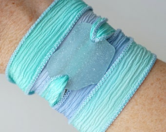 Soft Aqua Blue Sea Glass on Seafoam Green and Periwinkle Blue Silk Wrap Bracelet