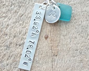 CLEARANCE - Southport, NC Coordinates Bar Necklace - Hand Stamped