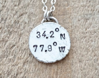 CLEARANCE - Wilmington, NC Coordinates Necklace - Hand Stamped on Recycled Sterling Silver