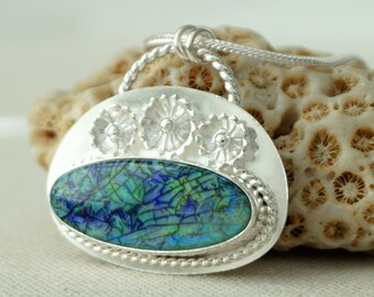 Monarch Opal with Sterling Silver Flowers Necklace