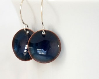 Cobalt Blue Enamel Earrings