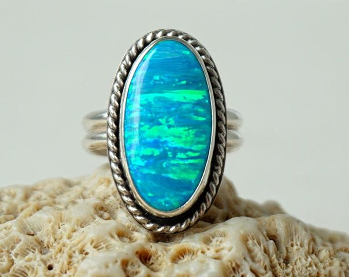 Featured listing image: Aqua Blue Aura Opal Statement Ring, size 9