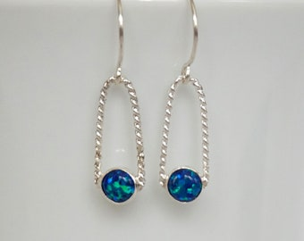 Cobalt Blue Aura Opal Earrings