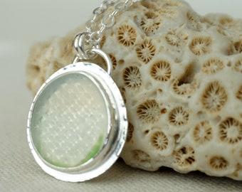 Green and Clear Ohajiki Sea Glass Pendant