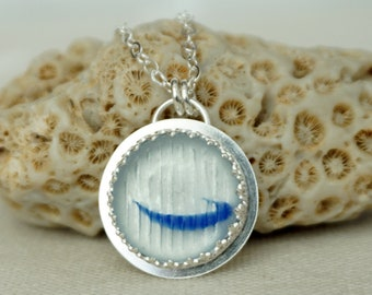 Cobalt Blue and Clear Ohajiki Sea Glass Pendant