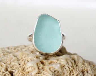 Soft Aqua Blue Sea Glass Ring, Size 7 1/2