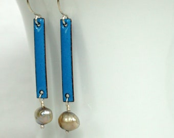 Bright Blue Enamel and Silver Pearl Earrings