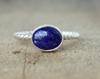Lapis Stacking Ring, Size 9 1/2