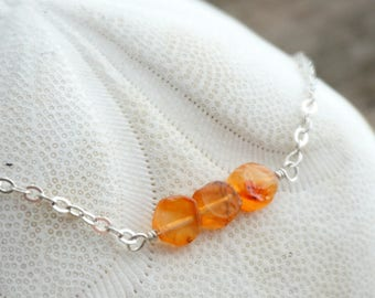 Carnelian Choker on Sterling Silver Chain