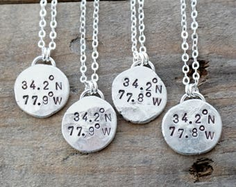 Hand Stamped Coordinates Necklace on Recycled Sterling Silver