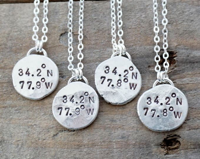 Featured listing image: Hand Stamped Coordinates Necklace on Recycled Sterling Silver