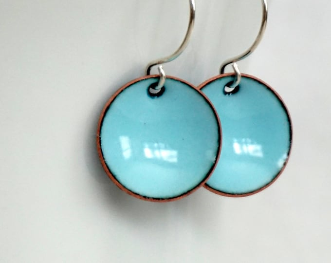 Featured listing image: Robin's Egg Blue Enamel Earrings