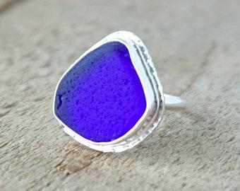 Cobalt Blue Sea Glass Ring, Size 6 1/4
