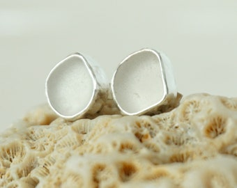 Clear Frosted Sea Glass Stud Earrings