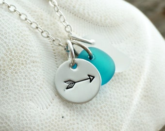 Sterling Silver Arrow with Aqua Blue and Clear Sea Glass Pendant