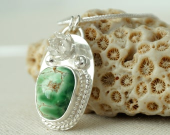 Australian Variscite with Sterling Silver Flower Necklace