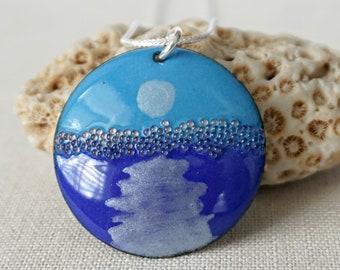 Moonrise - Bright Blue and Cobalt Blue Enamel Pendant