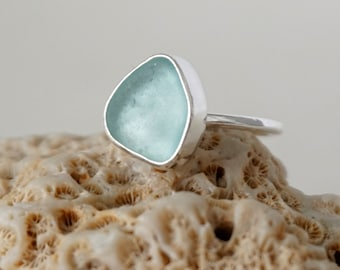 Soft Aqua Blue Sea Glass Stacking Ring, Size 5 3/4