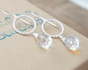 Clear Rainbow Quartz and Twist Ring Earrings