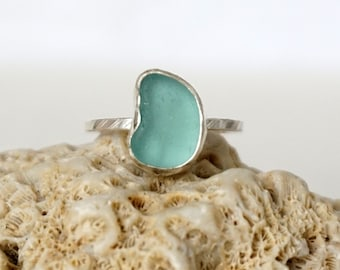 Teal Blue Green Sea Glass Stacking Ring, Size 8