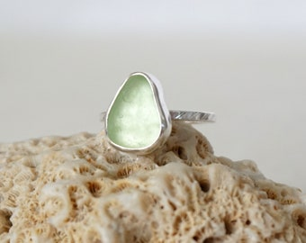 Seafoam Green Sea Glass Stacking Ring, Size 6 1/2