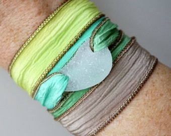 Clear Sea Glass on Green, Brown, and Yellow Silk Wrap Bracelet
