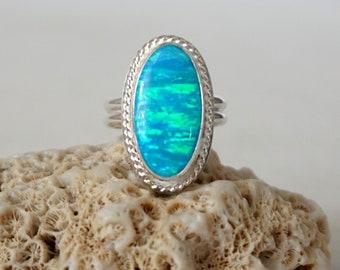 Aqua Blue Aura Opal Statement Ring, size 9