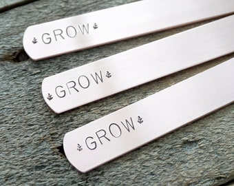 "CLEARANCE ""Grow"" Hand Stamped Copper Plant Marker"