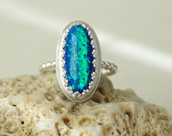 Cobalt Blue and Green Aura Opal Stacking Ring, Size 8 1/2